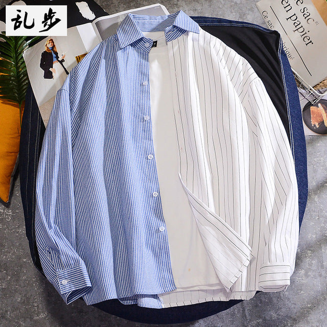 Loose Vertical Stripe Panel Men Shirt Stylish Long Sleeve Button Shirts Casual Camisa Hombre Korean Summer Men Clothes MM60NCS