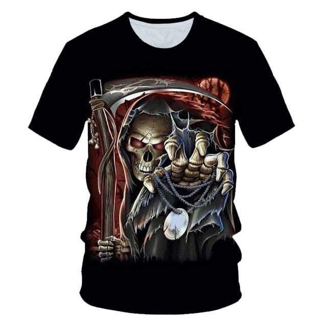 Skull Beauty Rock Cool 3D t shirts Mens Motorcycle Punk 3D Printed T shirt Men Clothes tshirt Summer Top Homme Hipster Pop Shirt