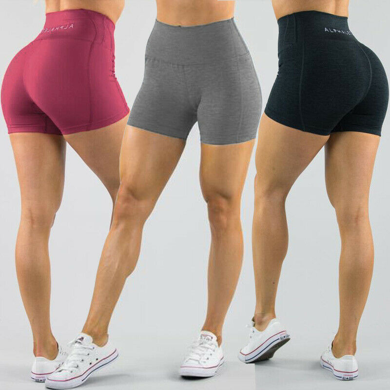 Women's High Waist Sports Short Workout Running Fitness Leggings Female Yoga Shorts Gym Yoga  Leggings With Side Pocket