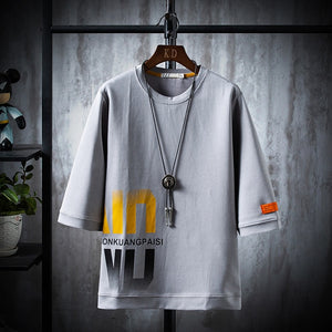 Loose Fit t-shirt men New 2020 letter  Men's T-shirt Print Cotton Summer Short Sleeve O-Neck Tees Male Fashion Shirt