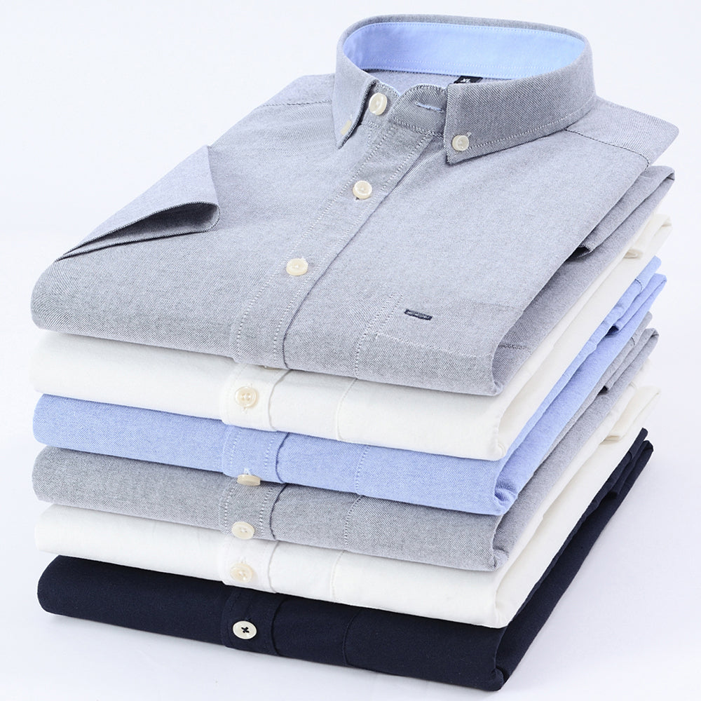 Men's Summer Pure Cotton Oxford Shirts Casual Slim Fit Design Short Sleeve Fashion Male Blouse Shirt