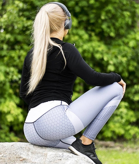 Mesh Pattern Print Leggings Fitness Leggings For Women Sporting Workout Leggins Jogging Elastic Slim Black White Pants