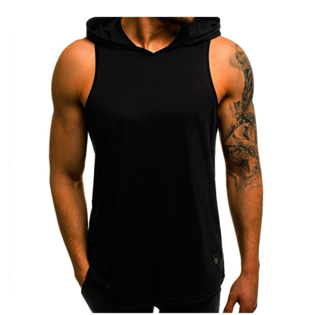 Men Hoodies Tank Top Sleeveless Muscle Gym Sport Slim Vest Bodybuilding Hooded Hip Hop Streetwear Workout Elastic Men Tank Top