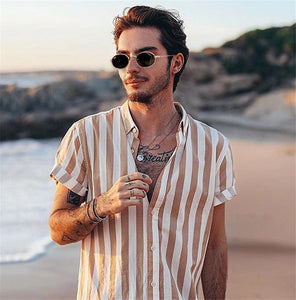 2019 Men's Short Sleeve V-Neck Striped Button Up Shirt Summer Casual Blouse Tee Tops