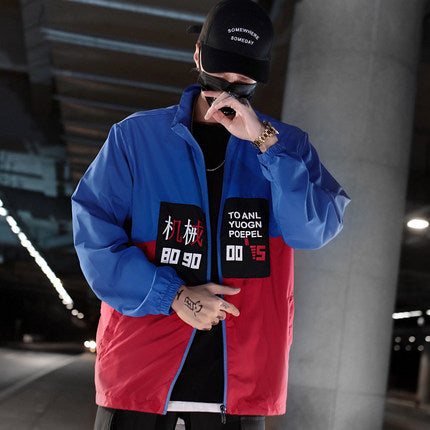 Harajuku Color Block Jacket Streetwear Mens Hip Hop Windbreaker Jacket Printed Street Dance Jacket Coat Autumn Summer Clothes
