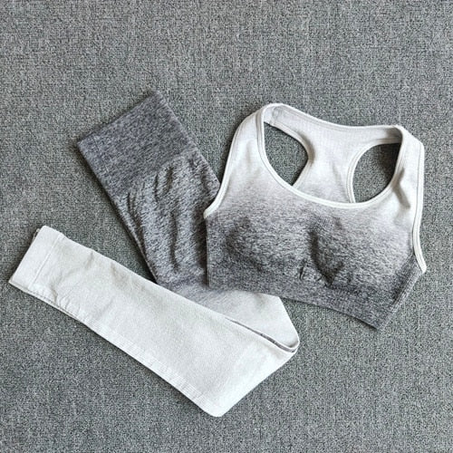 Ombre Yoga Set Sports Bra and Leggings Women Gym Set Clothes Seamless Workout Fitness Sportswear Fitness Sports Suit Sportswear