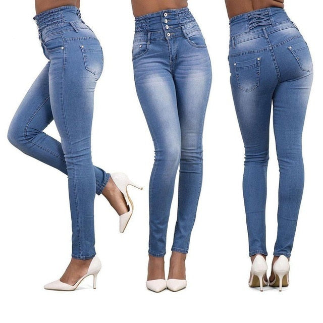 2020 Newest Hot Women Stretch Ripped Distressed Skinny High Waist Denim Pants Shredded Jeans Trousers Slim Jeggings Denim Jeans
