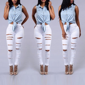 Fashion Ripped Jeans For Women Yellow Scratch Denim Trousers High Waisted Skinny Pencil Pants Hollow out Sexy Female Jean Mujer