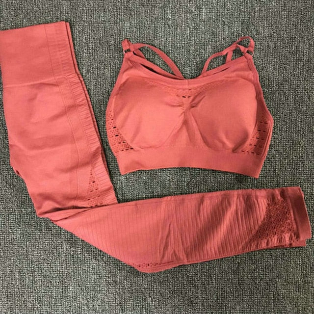 Sexy Sports Suits Seamless Yoga Set Women Fitness Clothing Sportswear Woman Gym Leggings Padded Push-up Sports Bra 1728/1788