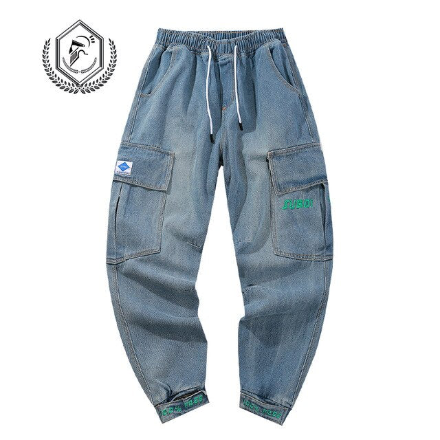 Men Loose Harem Jogger Safari Style Jeans