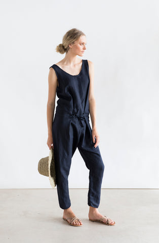 Cruz Jumpsuit- Navy linen