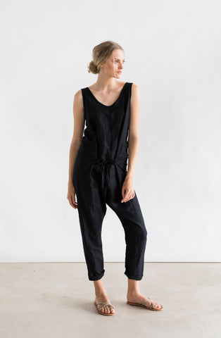 Cruz Jumpsuit- Black Linen