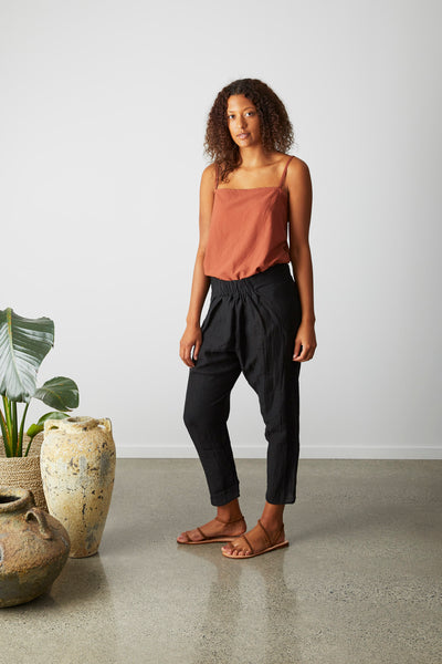Enso Pant- Black textured linen