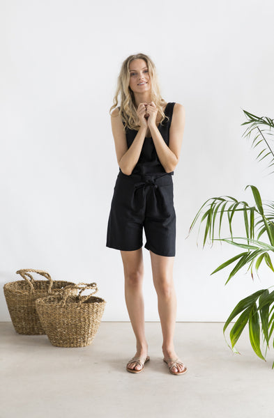 Cruz Short - Black linen