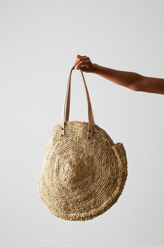 Seagrass Beach Bag - Round with Leather Straps