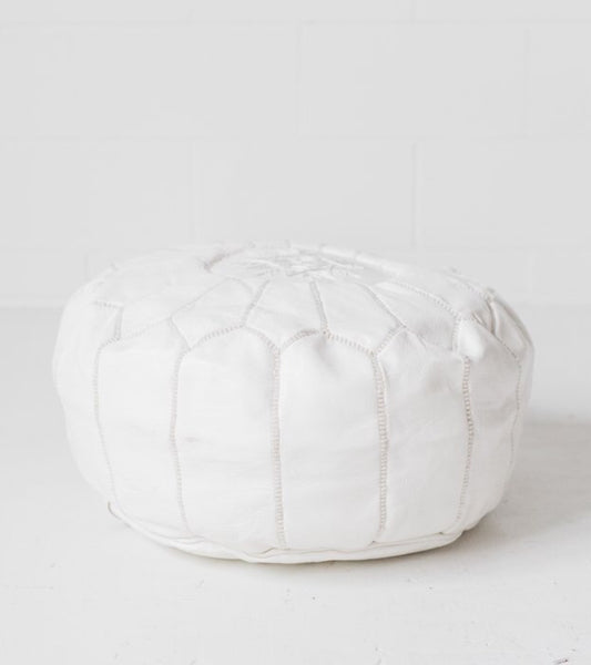 Bohzali - Genuine Leather Hand-stitched Pouf (White)