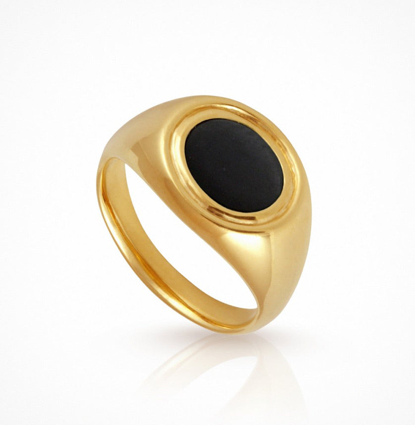Temple of the Sun - Kosmos Ring Onyx Gold