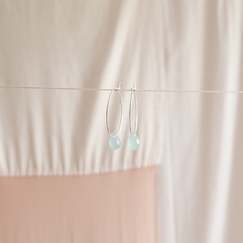Good heart hoops - Light blue agate
