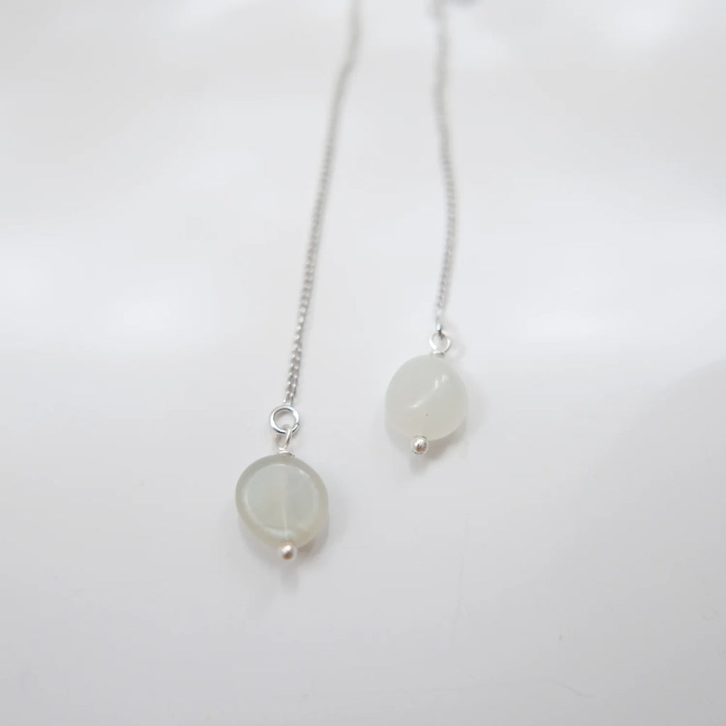 Thread Earrings - Moonstone (Platinum)