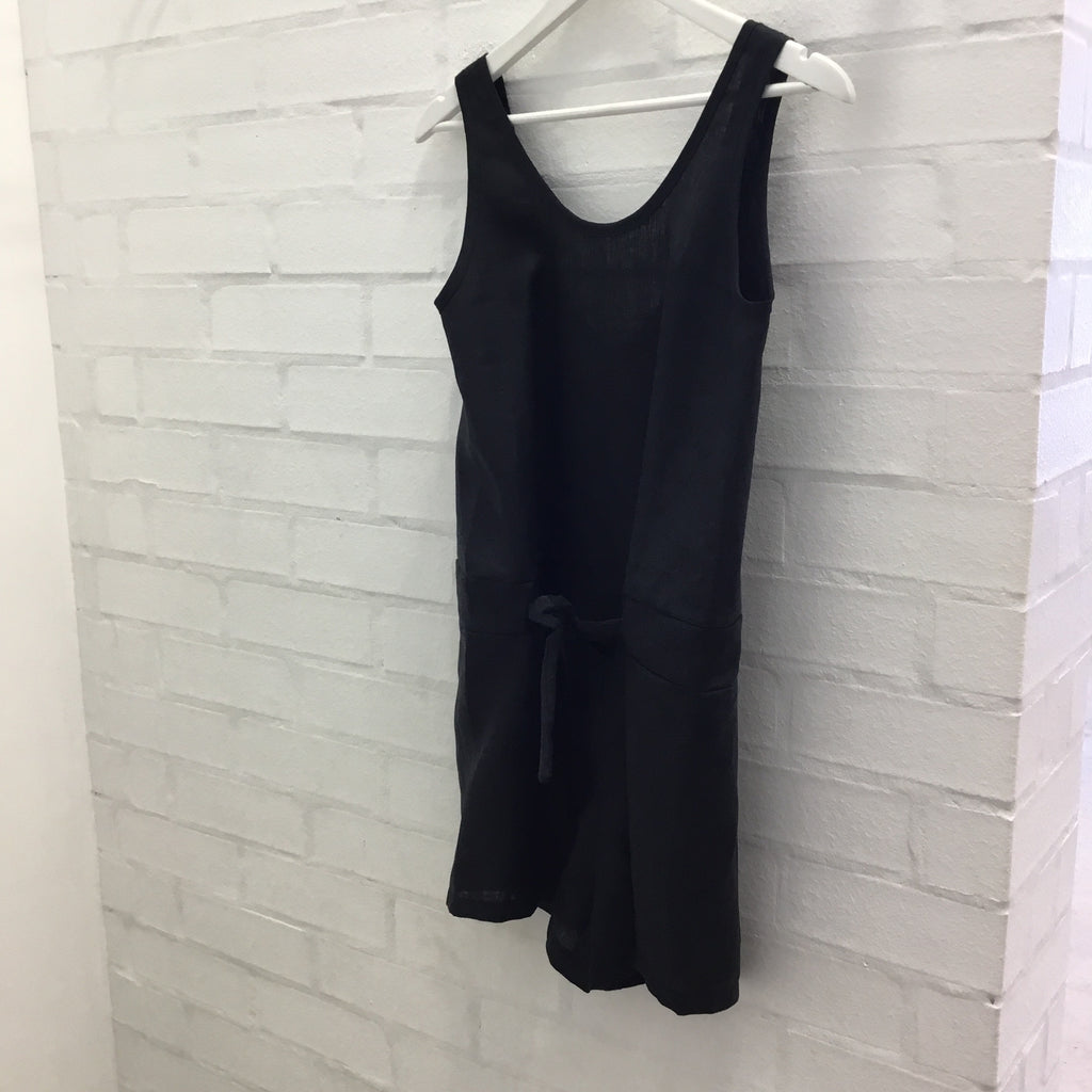 Cruz Romper -Black linen