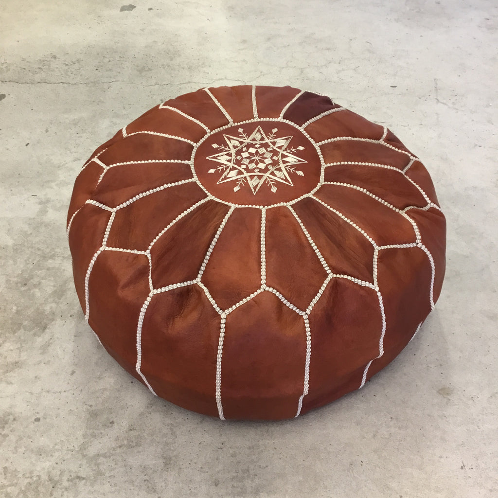 Bohzali - Genuine Leather Hand-stitched Pouf (Rust Brown)