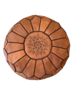 Bohzali - Genuine Leather Hand-stitched Pouf (Brown with black stitching)