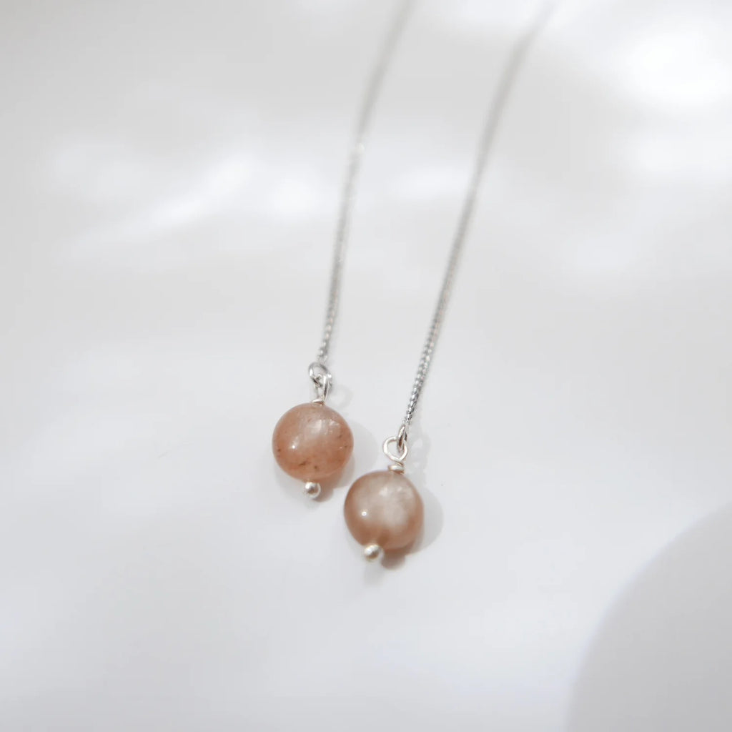 Thread Earrings - Sunstone (Platinum)