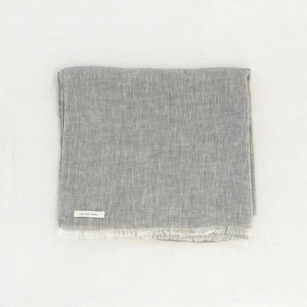 Plant based dyed linen scarf - Cloud