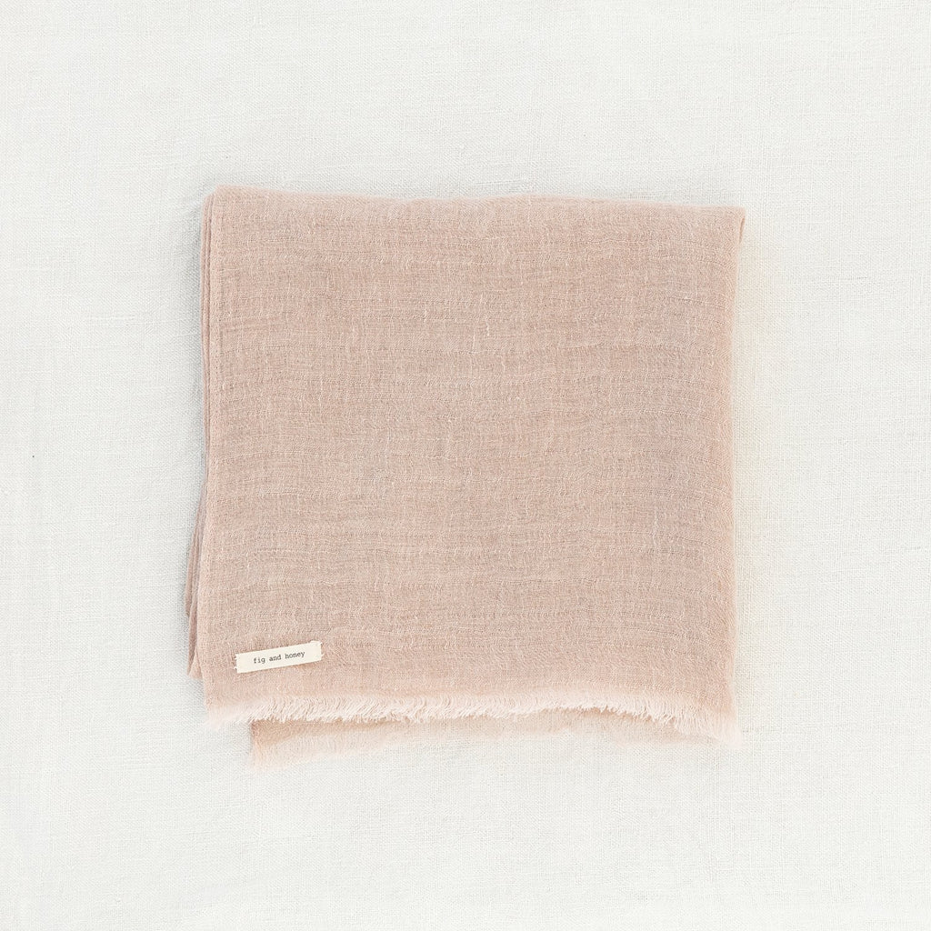 Plant based dyed linen scarf - Blush