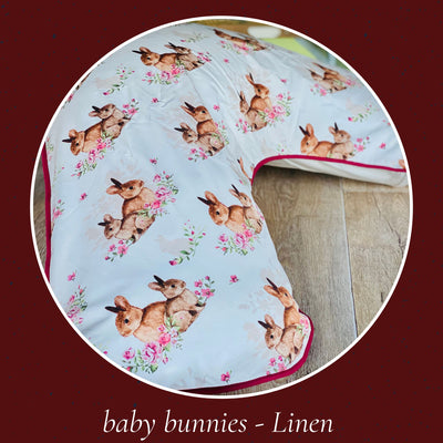 Boomerang pillow - Cover only Yoga bolsters and Floor Cushions - Assassinsdesigns Baby bunnies - Linen