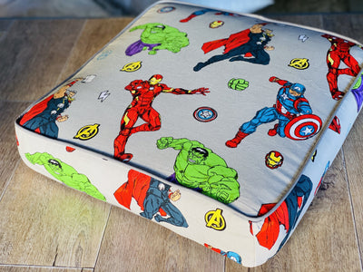 kids Floor Cushions made in Australia by assassinsdesigns Kids floor cushions , kids cushions Yoga bolsters and Floor Cushions - Assassinsdesigns 50cm Round Avengers grey