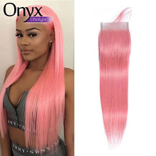 Load image into Gallery viewer, Bubblegum and Silver Brazilian Straight 4x4 Closure and 13x4 Frontal - Human Remy