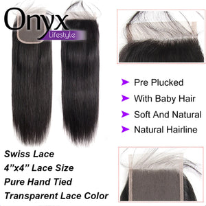 Brazilian Straight 4x4 Closure - Human Remy (Natural Color)