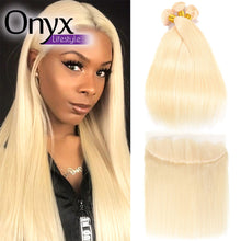 Load image into Gallery viewer, Peruvian Blonde Straight 3 Bundles w/13x4 Frontal - Human Remy (613)