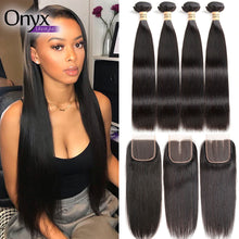 Load image into Gallery viewer, Malaysian Straight 4 Bundles w/4x4 Closure - Human Remy (Natural Color)