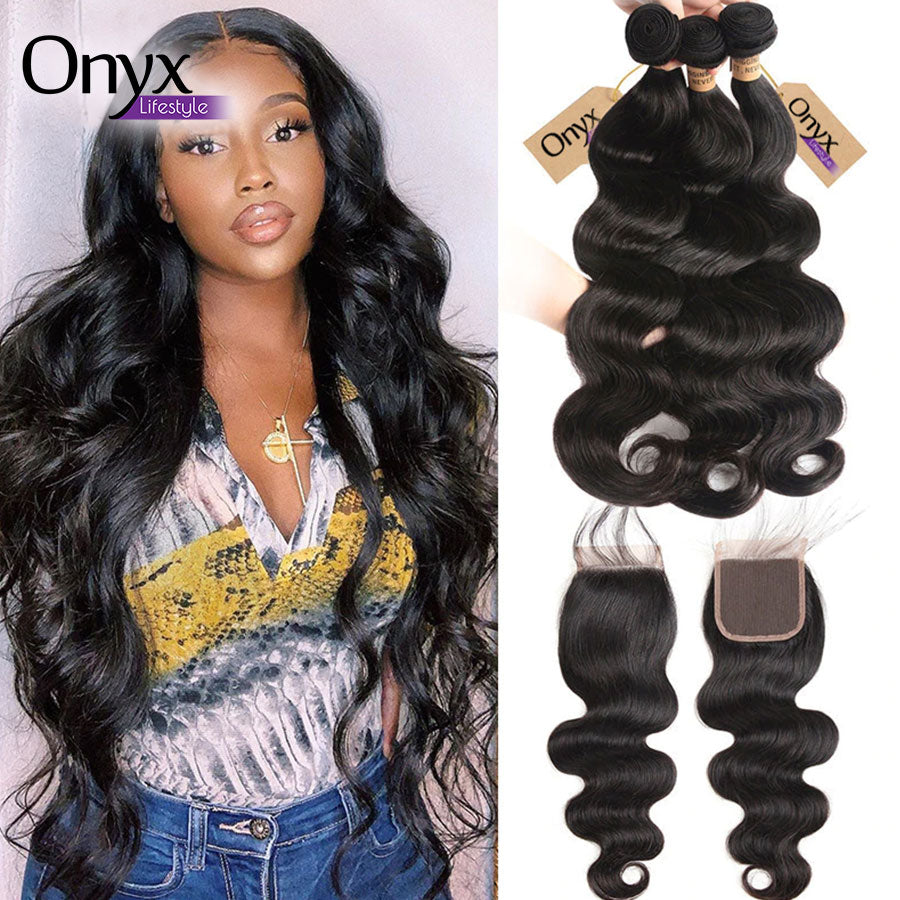 Peruvian Body Wave 3 Bundles w4x4 Closure - Human Remy (Natural Color) (Three Part)