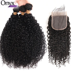Malaysian Curly 3 Bundles w/4x4 Closure - Human Remy (Natural Color)