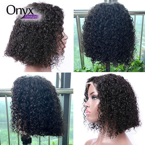 Brazilian Deep Wave Short Bob 13x4 Lace Front Wig Pre-Plucked w/ Baby Hairs
