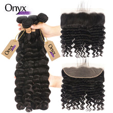 Load image into Gallery viewer, Brazilian Loose Deep Wave 4 Bundles w/13x4 Frontal - Human Remy Pre-Plucked (Natural Color)