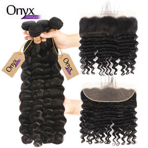 Brazilian Loose Deep Wave 4 Bundles w/13x4 Frontal - Human Remy Pre-Plucked (Natural Color)