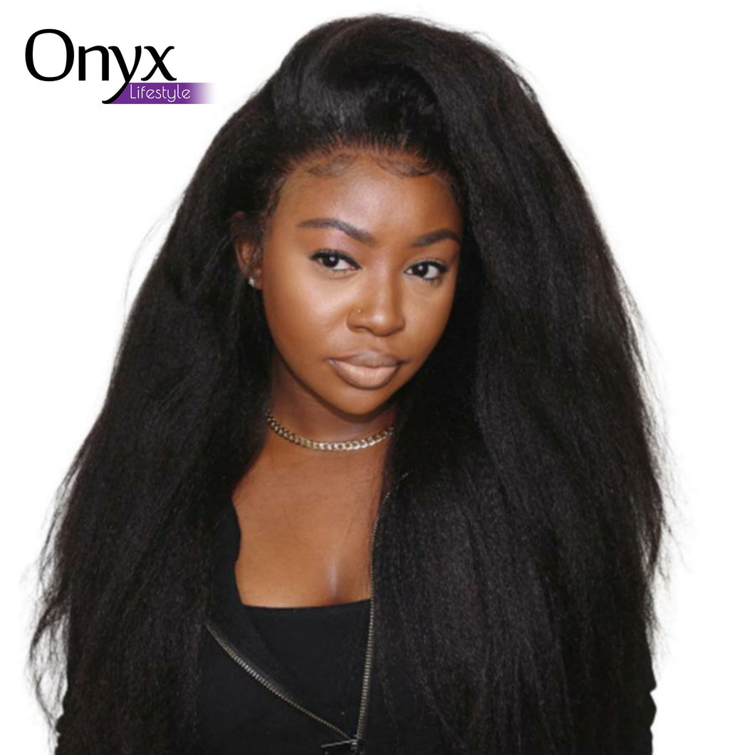Burmese Kinky Straight Lace Front Wig - Human Remy Pre-Plucked w/Baby Hair (T-Part) (1B)