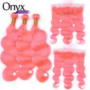 Bubblegum and Silver Brazilian Body Wave 4x4 Closure and 13x4 Frontal - Human Remy