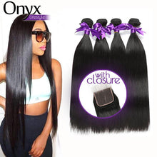 Load image into Gallery viewer, Brazilian Straight 3 Bundles w/4x4 Closure - Human (Non-Remy)
