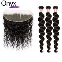 Load image into Gallery viewer, Peruvian Loose Wave 3 Bundles w/13x4 Frontal - Human Remy (Natural Color)