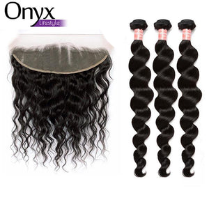 Peruvian Loose Wave 3 Bundles w/13x4 Frontal - Human Remy (Natural Color)