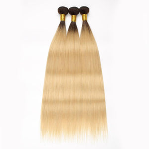 Brazilian Ombre Blonde* Straight 3 Bundles w/4x4 Closure - Human (Non-Remy) (1B/613)