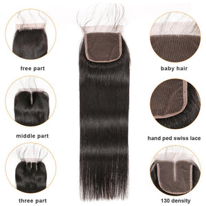Brazilian Straight 3 Bundles w/4x4 Closure - Human Remy (Natural Color)