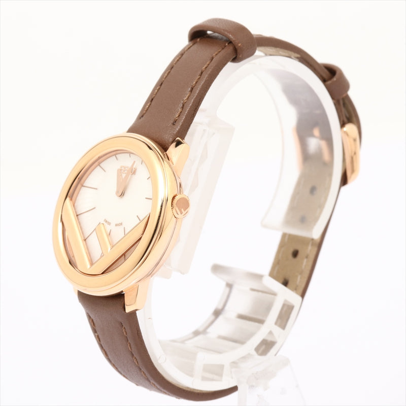 Fendi Runaway Gold Platedx Leather QZ White Dial F710524021
