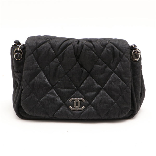 Chanel Matrasse Coated Canvas xCalfskin Leather ChainShoulder Bag Black SilverMetal Sticky