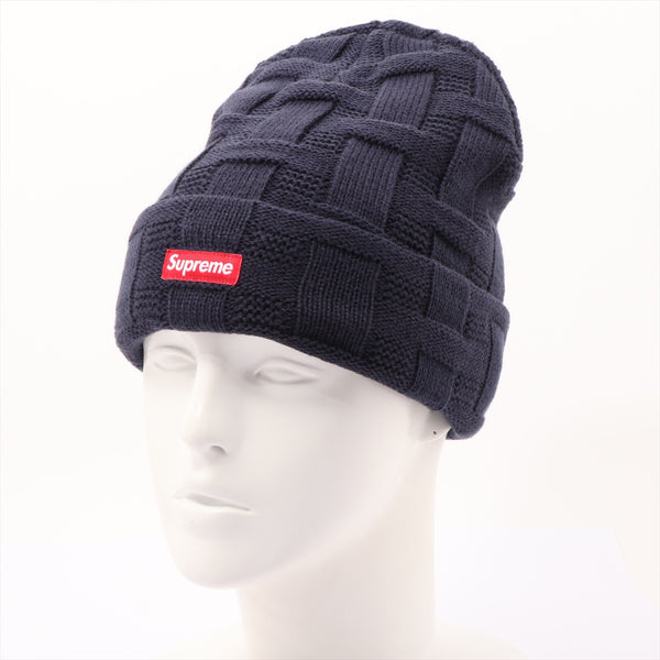 Supreme Knit Cap Acrylic Navy 19AW Basket Weave Beanie|RANK:AB